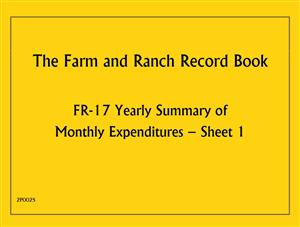 FR17 - Farm and Ranch Record Book - Yearly Summary of Monthly Expenditures 2P002S