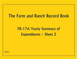 FR17A - Farm and Ranch Record Book - Yearly Summary of Expenditures 2P002T