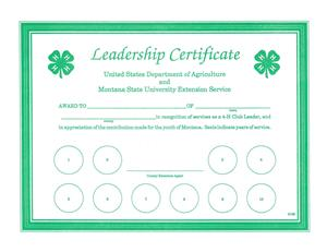 4-H Leadership Certificate 5128