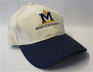 MSU Extension Cream and Blue Hat AD0064