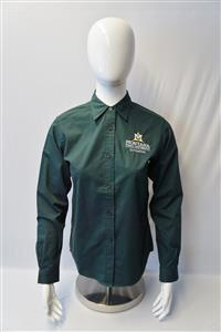 Ladies Dark Green Easy Care Long Sleeve Shirt AD0095