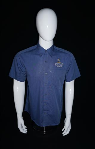 Mens Blue Crosshatch Short Sleeve Shirt AD0151