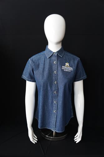 Ladies Short Sleeve Denim Shirt AD0152