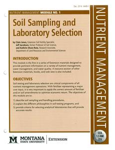 Nutrient Management Module 1 Soil Sampling and Laboratory Selection 4449-1