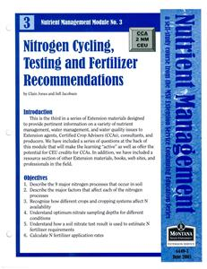 Nutrient Management Module 3 Nitrogen Cycling, Testing and Fertilizer Recommendations 4449-3