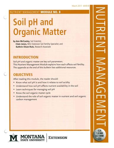 Nutrient Management Module 8 Soil pH and Organic Matter 4449-8