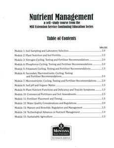Nutrient Management Module Table of Contents 4449T
